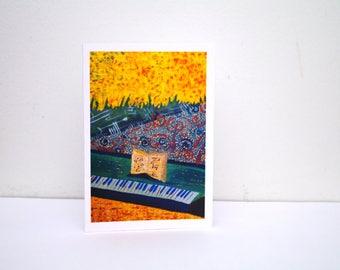 Music teacher gift Music thank you card concert card musician gift for music lover Music decor Teacher appreciation Piano teacher gift