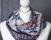 Infinity scarf // Blue pink Snood fabric  navajo