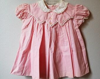 Vintage 50s Girls Pink Cotton Dress Peter Pan Collar - Size 18 months- New, never worn