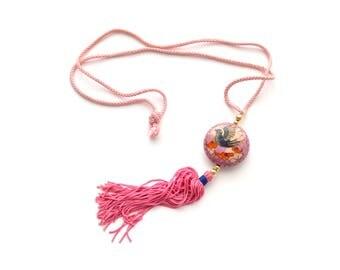 60s Pink Cloisonne Necklace Bird Flower Tassel Pastel
