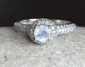 Halo Moonstone Promise Ring- Rainbow Moonstone Engagement Ring- Dainty Moonstone Anniversary Ring-June Birthstone Ring-Iridescent Jewelry