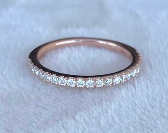 Rose Gold Diamond Band- Half Eternity Diamond Band- Pave Diamond Wedding Band- Thin Diamond Ring Stack- Womens Wedding Dainty Band