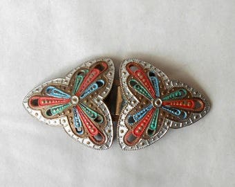 CIJ SALE Vintage Brass Buckle Damascene style multi colored silver red green blue Small MmV