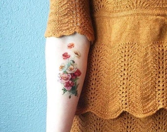 Vintage Poppy Temporary Tattoo - Poppy Temporary Tattoo - - Vintage Floral Temporary Tattoo - Boho Temporary Tattoo