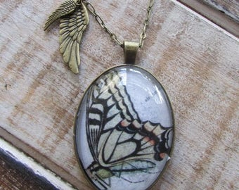 Swallowtail Butterfly Necklace with 2 wings
