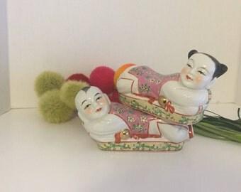 VINTAGE ASIAN CERAMIC Pillows, Asian Opium Pillows, Pink & Green Asian Girl and Boy, Gold Accents, Asian Porcelain Pillow at Ageless Alchemy