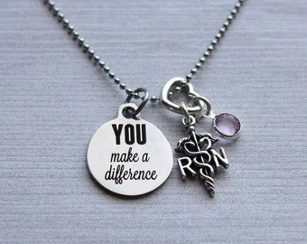 You Make A Difference RN Birthstone Necklace, Nurse Gifts, Nurse Gift Ideas, Nurse Jewelry, Nurse Thank-You Gifts, Nurse Necklace, Nurse