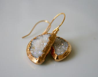 Shimmering White Druzy Stone Earrings Dipped in Gold