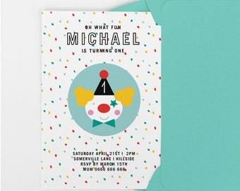 Circus party invite, Printable party invitation, first birthday party invitation, birthday invite, 1st birthday 2nd birthday invitation
