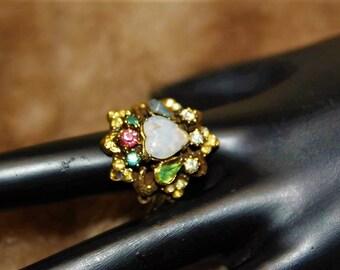 hollycraft designer high end adjustable opalite heart valentine ring sz55 rg3