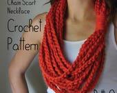 PATTERN Chain Scarf Necklace // Crochet PATTERN // Scarf Gift // Scarf PATTERN Instructions // Crochet Scarf Tutorial // Chain Scarf Pattern