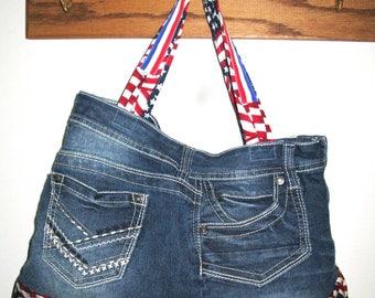 USA Upcycled Blue Jeans Purse