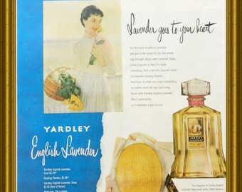 Yardley Perfume Soap Ad - 1950 Vintage Magazine Advertising - Bathroom or Bedroom Wall Decor