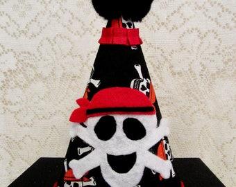 All Fabric Skull & Crossbones Pirate Birthday Party Hat, Pirate Theme Party Hat, Skull Crossbones Hat, Keepsake Cloth Hat, Ready to Ship!