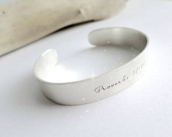 Personalized Cuff Bracelet Sterling Silver Scripture Christian Jewelry Personalized Gift Hand Stamped Cuff