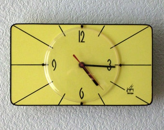 French 1950-60s Atomic Age JAPY Bright Yellow - Black Stripes -  Formica Wall Clock - Great Working Condition