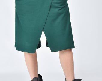 NEW Loose Casual Shorts / Dark Green  Drop Crotch Harem  Pants / Extravagant Black Pants/Unisex Cotton Pants A05134