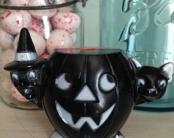 Vintage Halloween Rosbro/Tico Toys Jack O Lantern/Pumpkin with Witch and Black Cat Plastic Candy Container Black White Orange Variant