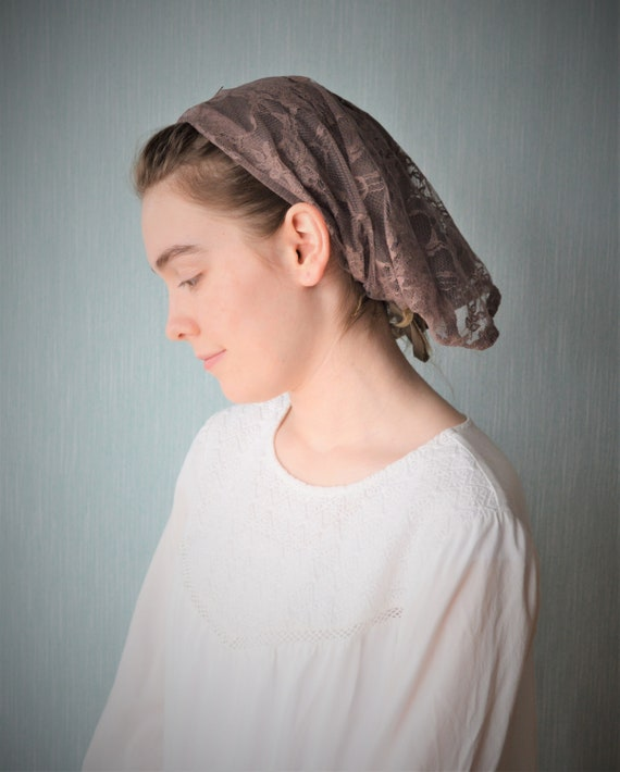 Soft Brown Veil with Ties | Lace Head Cover Catholic Chapel Veil Catholic Mantilla Church Veils for Mass Veil Robin Nest Lane Veils Longer