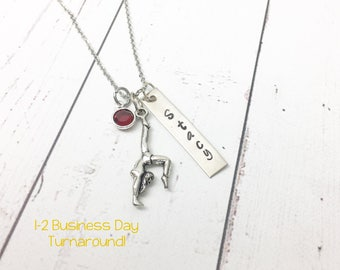 Gymnast Necklace - Gymnast Name Necklace -Gymnastics Necklace -Gymnast Jewelry -Gift for Gymnast -Gymnastics Gift -Hand Stamped Personalized
