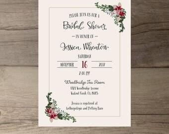 Winter Bridal Shower Invitations • Floral Wedding • Couples Shower • printable