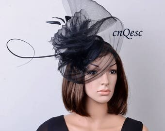 New design black sinamay crin fascinator with feathers and ostrich spine for Kentucky Derby wedding party races Church