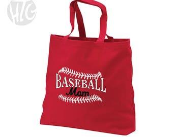 Embroidered Baseball Mom Tote Bag
