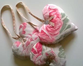 Antique Floral Cotton Lavender Filled Hearts