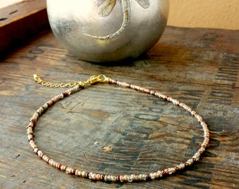 Mixed metals choker necklace copper, silver, gold and bronze metallic Christmas party wear
