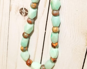 Amazonite and African Opal Necklace
