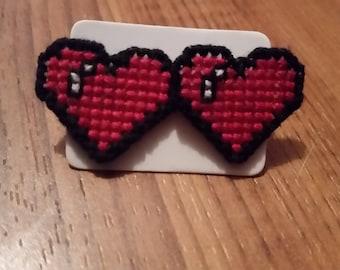 Cross Stitched Heart Studs