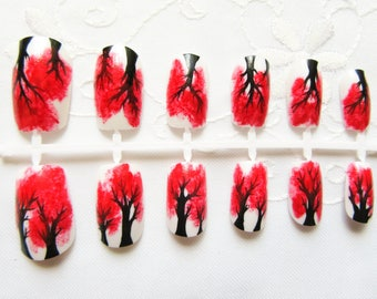 24 Set Fake Nails / Tree Nails / Goth Nails / False Nails / Press on Nails