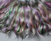 Angora Mohair locks ~ Multicolored green pink lavender yellow ~ doll hair weft reroot bjd wig blythe pullip minifee littlefee pukifee lati
