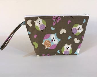LIMITED SUPPLY - Taupe Owls Make Up Bag - Accessory - Cosmetic Bag