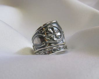 Good Luck Spoon Ring Irish Clover Sterling Silver Lucky Shamrock Unique Gift