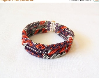 15% SALE 3 Strand Bead Crochet Rope Bracelet in red, purple and grey - beaded jewelry - seed beads bracelet