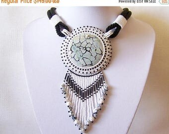 15% SALE Statement Bead Embroidery Necklace  - Pendant Beadwork Necklace with with Snack Skin Jasper - REFLECTIONS - black and white classic