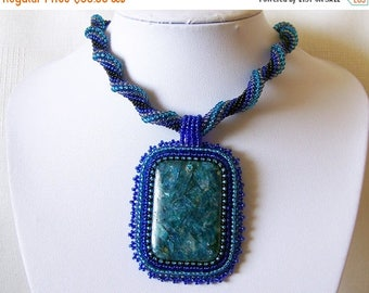 15% SALE Beadwork Bead Embroidery Pendant Necklace with blue Apatite - STARRY NIGHT - Apatite necklace - modern necklace - blue rope necklac
