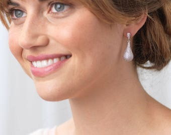 Pave Earrings, Wedding Earrings, Bridal Earrings, CZ Earrings, Pave CZ Earrings, Cubic Zirconia Jewelry, Earrings, Wedding Jewelry ~JE-4067