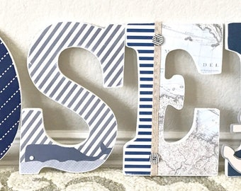 Nautical Wall Art Nursery Decor Letters For