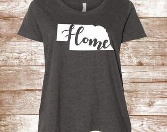 Nebraska Shirt - State - Home Shirt - Home Apparel - Custom - Southern Shirt - Ladies Clothing - Plus Size Shirt - Graphic Tee - HOME