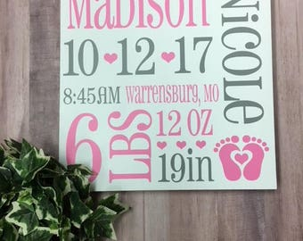 Baby Birth Announcement Wood Sign