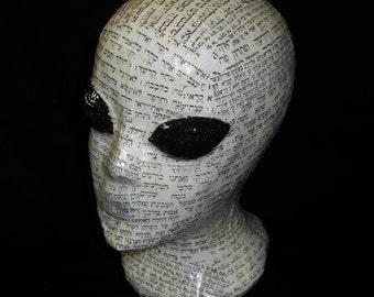 "11"" Ancient Alien Decorative Decoupage Display Head Mannequin Modern Abstract Art Sculpture Handmade Gray Hebrew Astronaut Space ET Big Eyes"