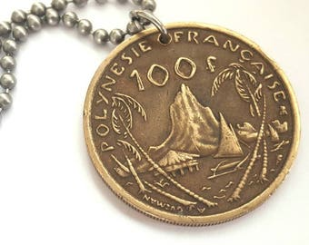 2000 French Polynesian Coin Necklace - Stainless Steel Ball Chain or Key-chain - copper coin with mountain and beach scene