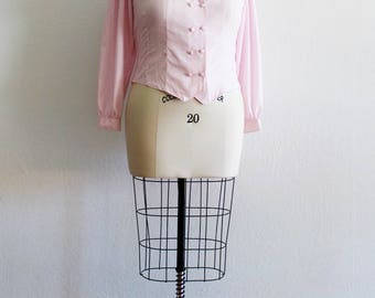 Plus Size - Vintage Pastel Pink Double Breasted Blouse (Size 16)