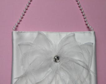 Flower Girl Pocketbook, White with Bow