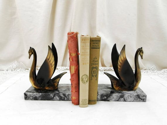 Antique French Art Deco Bronze Colored Metal Stylized Swan Black and White Marble Bookends, Bird Book Buttresses From France, Book Support