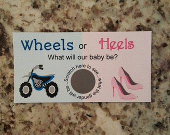 20 Wheels or Heels Gender Reveal Scratch Off Card Tickets
