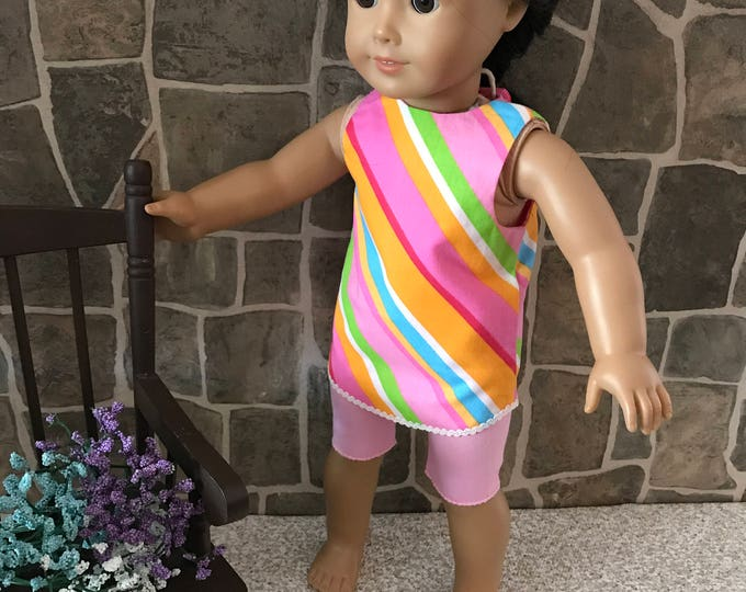 "End of Summer Sale!!! Pink Print Tonic with Pink Legging Shorts made to fit 18"" dolls FREE SHIPPING"