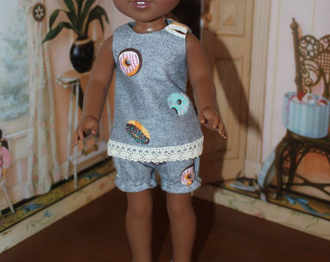 Donuts Pajamas,Tonic and Bloomers, Slippers, Handmade to fit the wellie wisher and Heart to Heart and other 14 5 doll Free Shipping